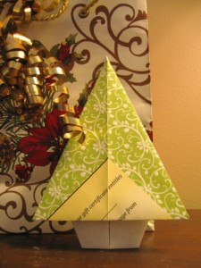 Picture of an Origami Tree folded from the Gift Certificate printout