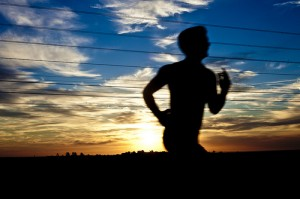 Runner against sunset